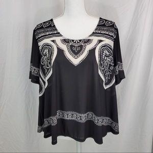 Cato Black & White Blouse Sz. XL